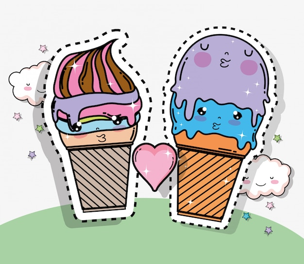 Kawaii ice cream sticker with heart and clouds