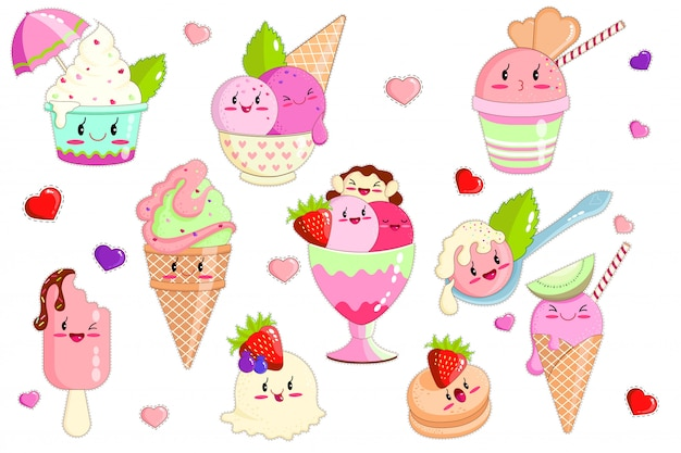 Kawaii ice cream in waffle cones, dish, spoon.