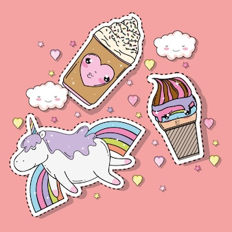 Kawaii ice creams with unicorn and rainbow sticker