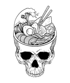 Kawaii japanese anime skeleton ramen halloween illustration