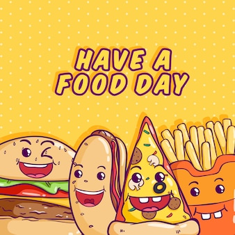 Kawaii junk food illustration with colorful doodle style on yellow