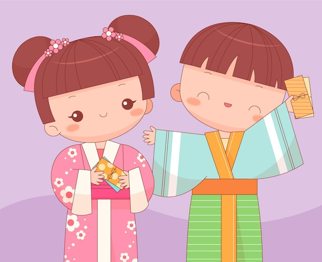 Kawaii kids with oshidama envelopes