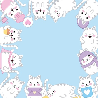 Kawaii kitten adorable animal cartoon border decoration