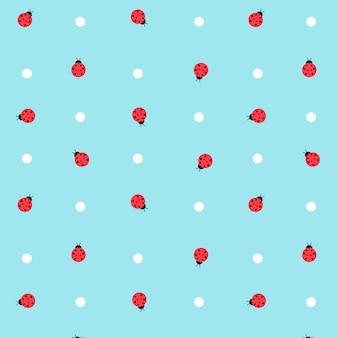 Симпатичные kawaii lady bugs прозрачный бесшовный фон