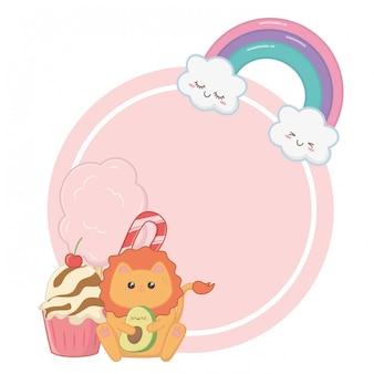 Kawaii of lion cartoon and desserts