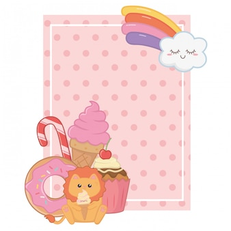 Kawaii of lion cartoon and desserts