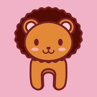 Значок каваи льва на розовом фоне