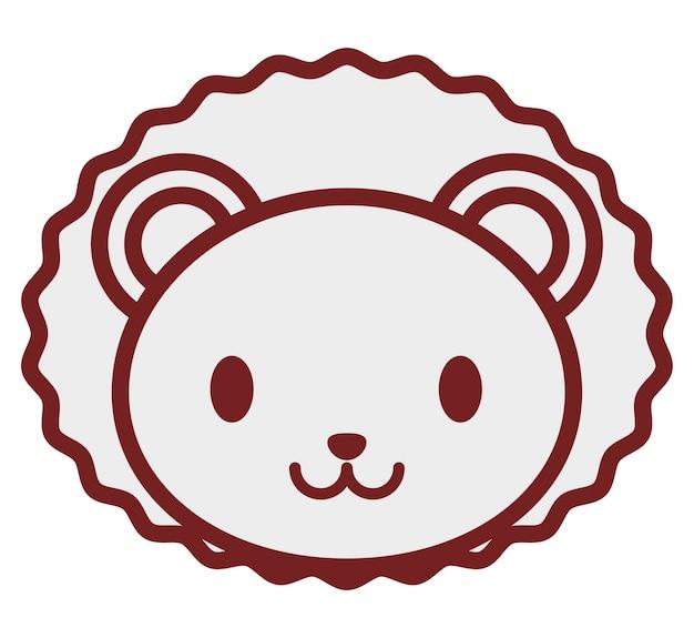 Значок kawaii lion на белом фоне
