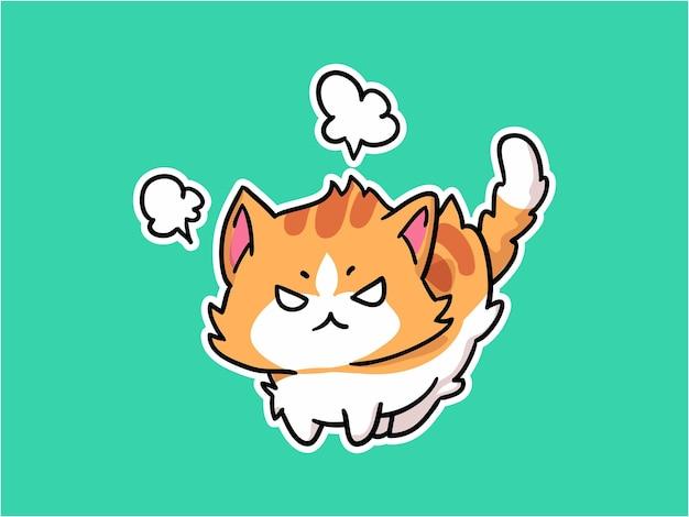 귀여운 작은 고양이 화난 캐릭터 일러스트