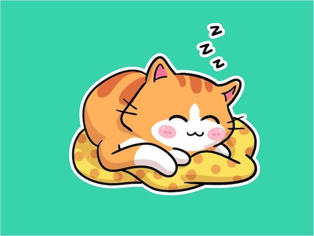 Kawaii little cat character sleeping on a pillow illustratio