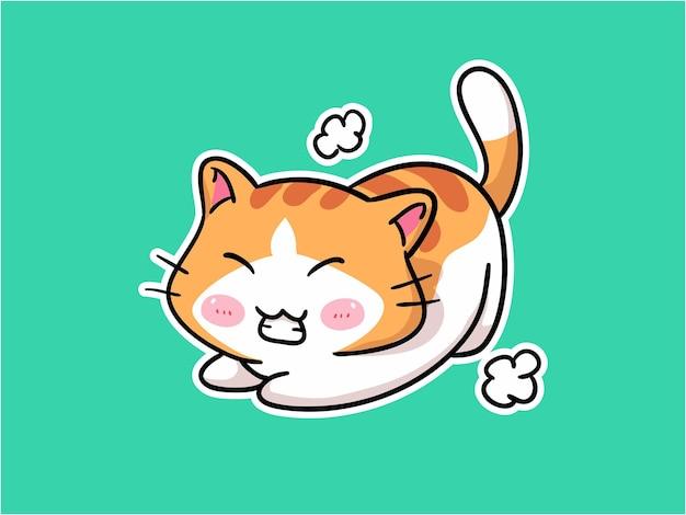Kawaii little cat character streching illustration