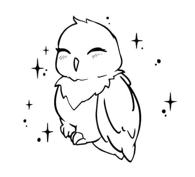 Kawaii little owl with shine sparkles on background. hand drawn vector sketch doodle illustration for t-shirt print design, coloring book, greeting card. isolated on white.