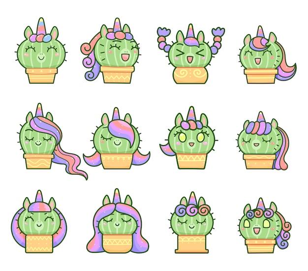 Kawaii little unicorn cactus set, happy cartoon style