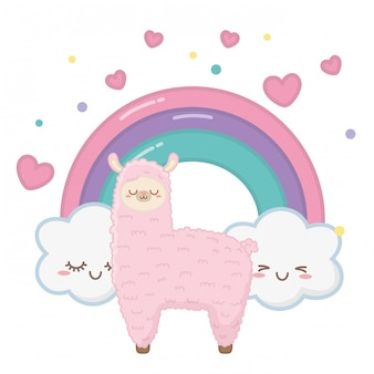 Kawaii of llama cartoon