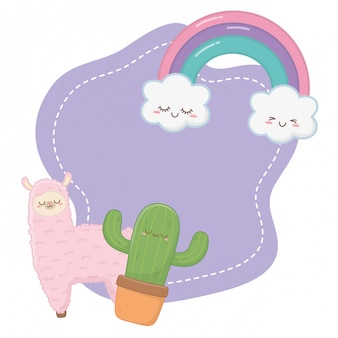 Kawaii of llama with cactus cartoon
