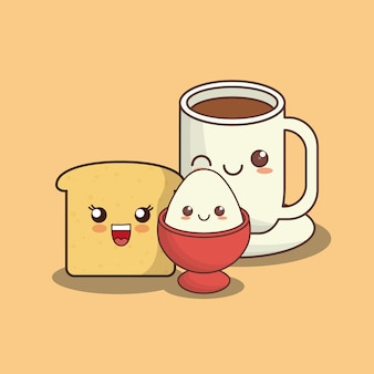 Kawaii loaf slice and coffee mug