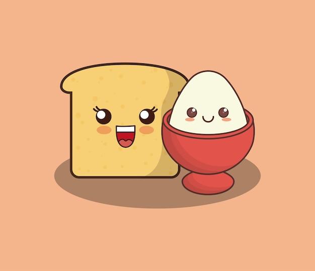 Kawaii loaf slice and egg