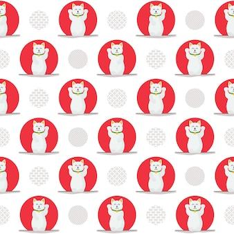 Kawaii lucky cat seamless pattern