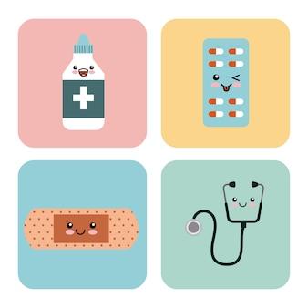 Kawaii medicine icons