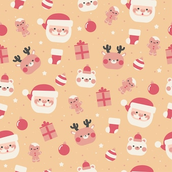 Kawaii merry christmas seamless pattern