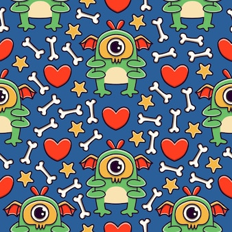 Kawaii monster cartoon doodle seamless pattern design