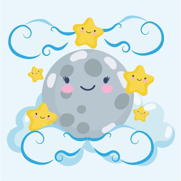 Kawaii moon and stars