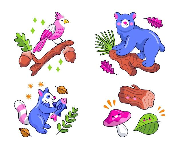 Kawaii nature sticker collection