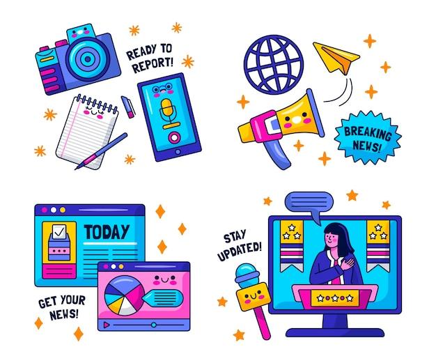 Kawaii news stickers collection