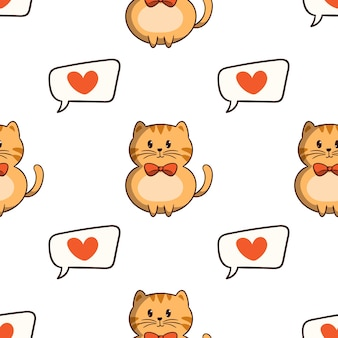 Kawaii orange cat with love icons in seamless pattern with colored doodle style on white background