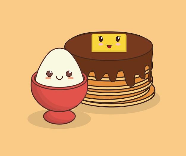 Kawaii pancakes and egg