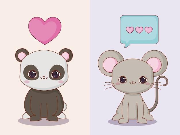 Kawaii  panda bear and mouse