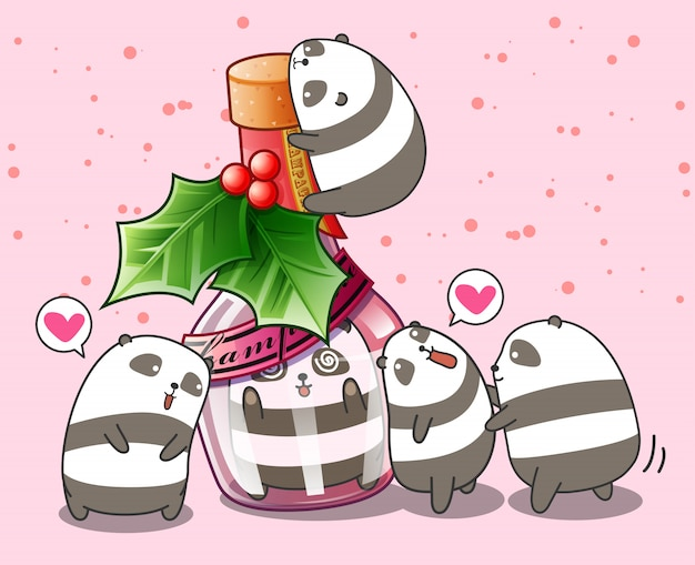 Kawaii panda in the bottle and friends