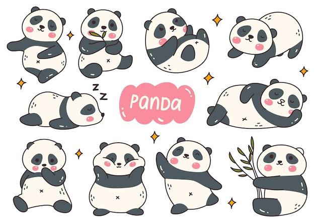 Kawaii panda cartoon doodle set