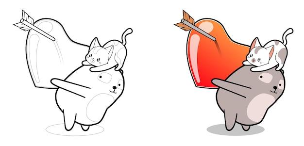 Kawaii panda and cat character with big heart cartoon coloring page