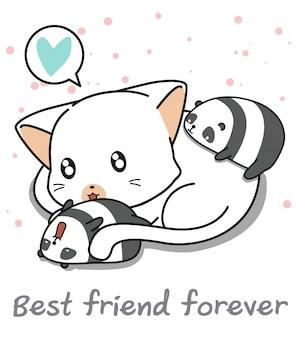 Kawaii panda and giant cat characters