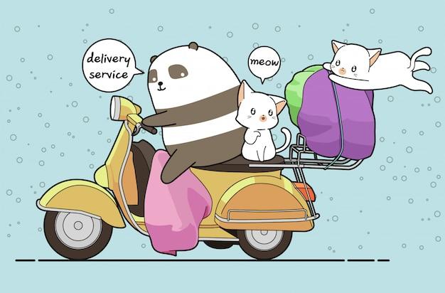 카와이 팬더가 배달 서비스를 위해 고양이 2 마리와 함께 오토바이를 타고 있습니다.