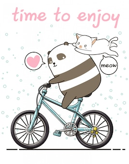 Kawaii panda is riding a bicycle with a cat. time to enjoy