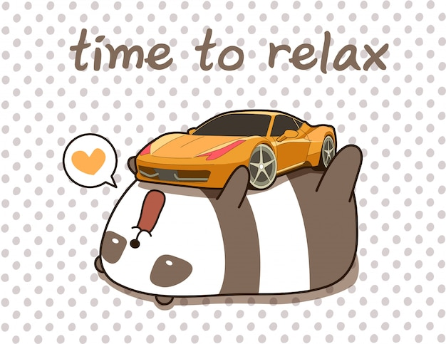 Kawaii panda loves super car