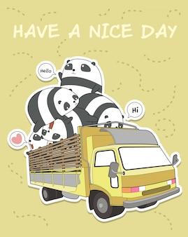 Kawaii panda on the truck