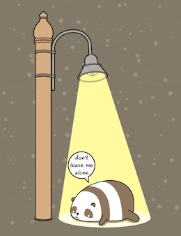 Kawaii panda was leave alone under  the ligth pillar