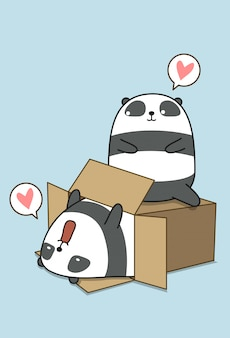 Kawaii pandas and box in cartoon style