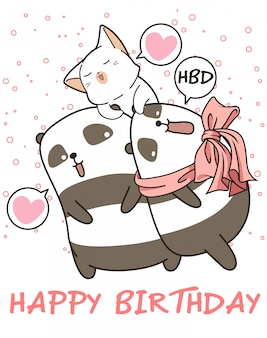 Kawaii pandas and cat are saying happy birthday