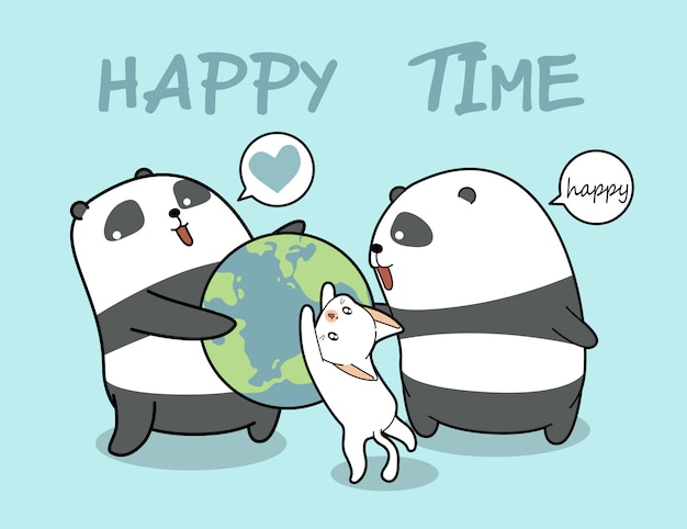 Kawaii pandas and cat loves the world