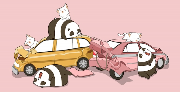 Kawaii pandas and cats in car accident event.
