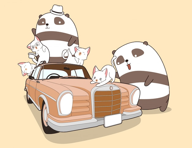 Kawaii pandas and cats with vintage car.