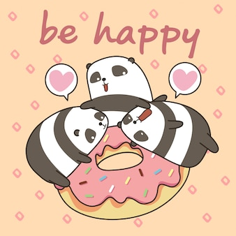 Kawaii pandas character with pink doughnut. be happy