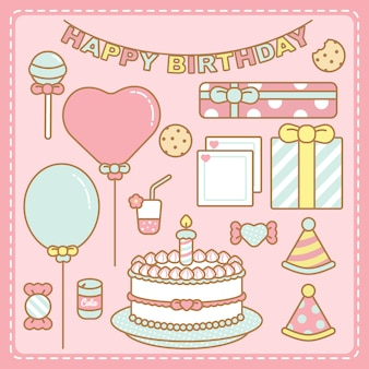 Kawaii pastel colours birthday set