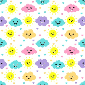 Kawaii pastel cuts clouds, sun, heart and stars cartoon with funny faces seamless pattern on white background