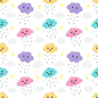 Kawaii pastel cuts  rain, clouds cartoon with funny faces seamless pattern on white background.