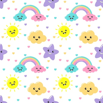 Kawaii pastel cuts weather rainbow, clouds, sun and stars cartoon with funny faces seamless pattern on white background